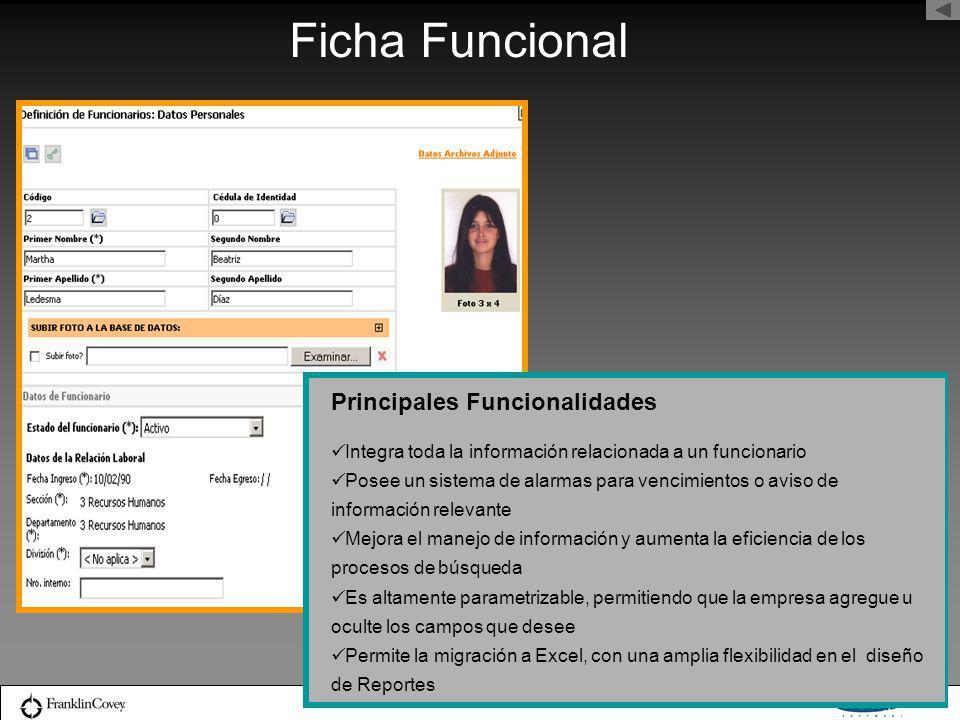 Ficha Funcional Principales Funcionalidades Integra toda la información relacionada a un funcionario Posee un sistema de alarmas para vencimientos o a