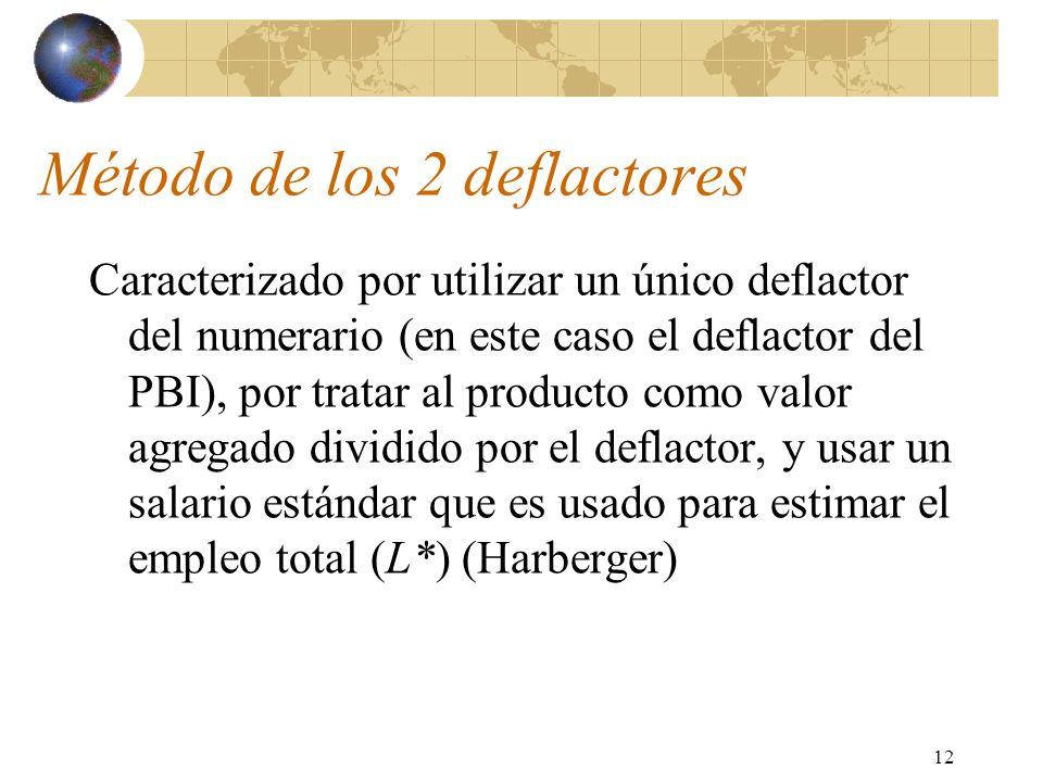12 Método de los 2 deflactores Caracterizado por utilizar un único deflactor del numerario (en este caso el deflactor del PBI), por tratar al producto como valor agregado dividido por el deflactor, y usar un salario estándar que es usado para estimar el empleo total (L*) (Harberger)