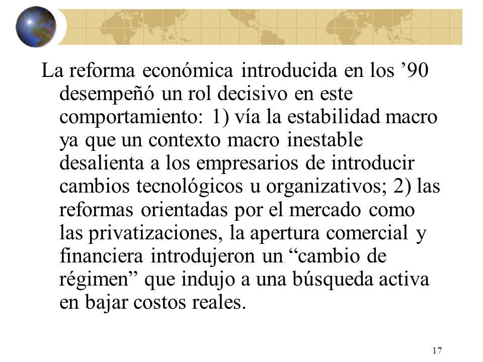 17 La reforma económica introducida en los 90 desempeñó un rol decisivo en este comportamiento: 1) vía la estabilidad macro ya que un contexto macro i