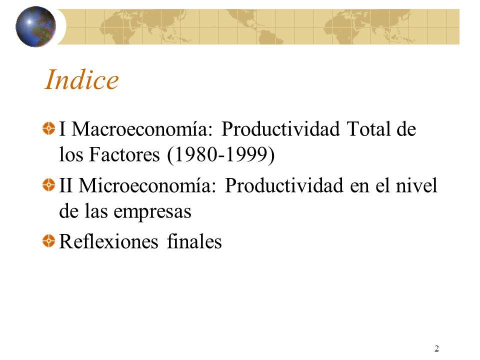 2 Indice I Macroeconomía: Productividad Total de los Factores (1980-1999) II Microeconomía: Productividad en el nivel de las empresas Reflexiones finales