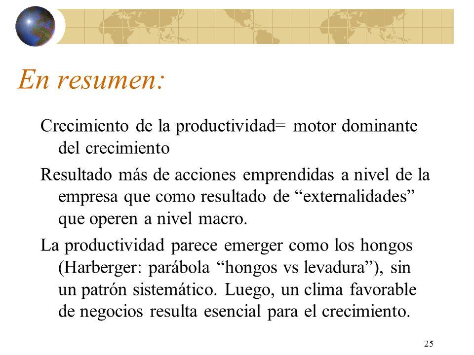 25 En resumen: Crecimiento de la productividad= motor dominante del crecimiento Resultado más de acciones emprendidas a nivel de la empresa que como resultado de externalidades que operen a nivel macro.