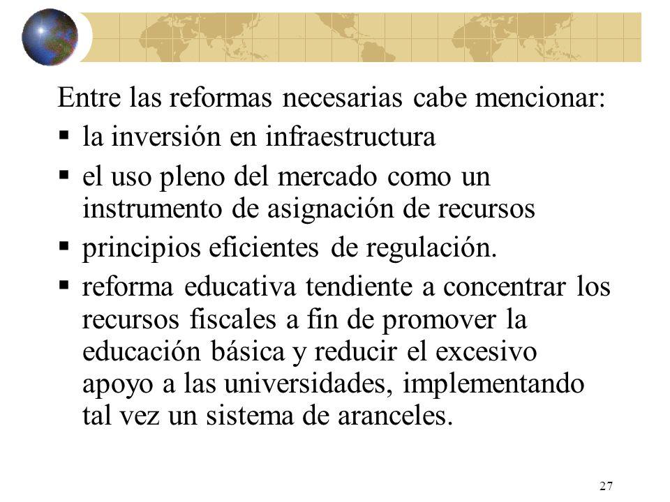 27 Entre las reformas necesarias cabe mencionar: la inversión en infraestructura el uso pleno del mercado como un instrumento de asignación de recursos principios eficientes de regulación.