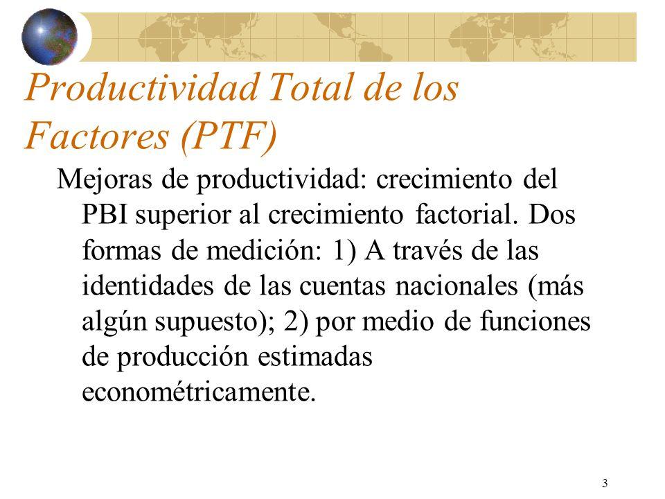 3 Productividad Total de los Factores (PTF) Mejoras de productividad: crecimiento del PBI superior al crecimiento factorial. Dos formas de medición: 1