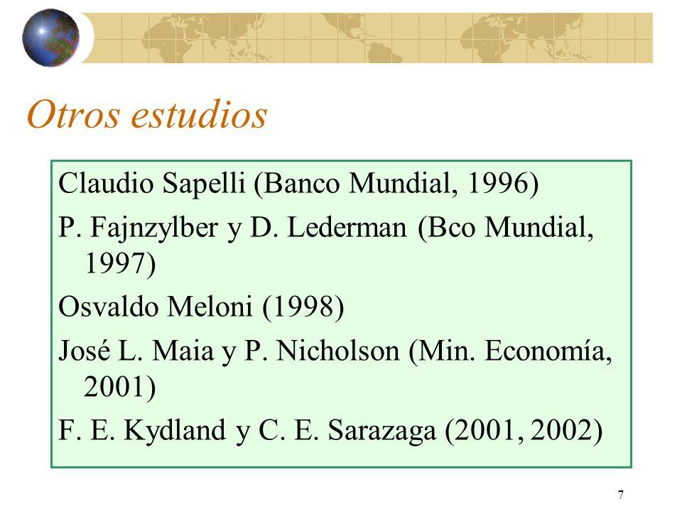 7 Otros estudios Claudio Sapelli (Banco Mundial, 1996) P. Fajnzylber y D. Lederman (Bco Mundial, 1997) Osvaldo Meloni (1998) José L. Maia y P. Nichols