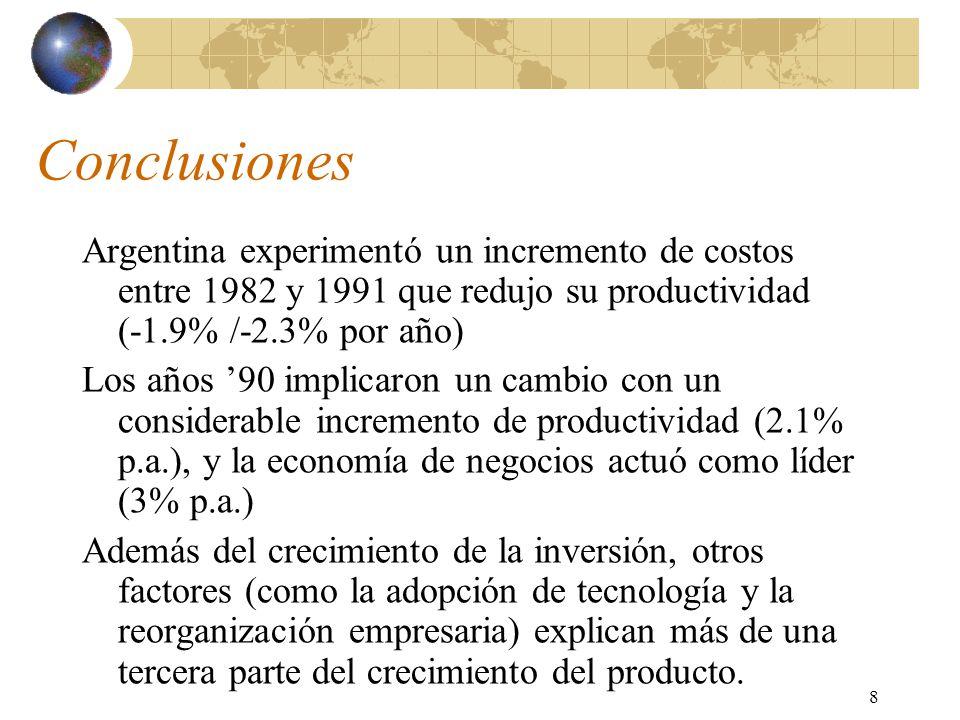 8 Conclusiones Argentina experimentó un incremento de costos entre 1982 y 1991 que redujo su productividad (-1.9% /-2.3% por año) Los años 90 implicaron un cambio con un considerable incremento de productividad (2.1% p.a.), y la economía de negocios actuó como líder (3% p.a.) Además del crecimiento de la inversión, otros factores (como la adopción de tecnología y la reorganización empresaria) explican más de una tercera parte del crecimiento del producto.