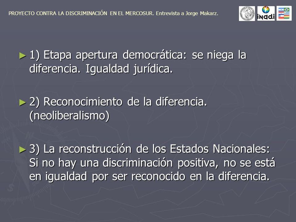 1) Etapa apertura democrática: se niega la diferencia.
