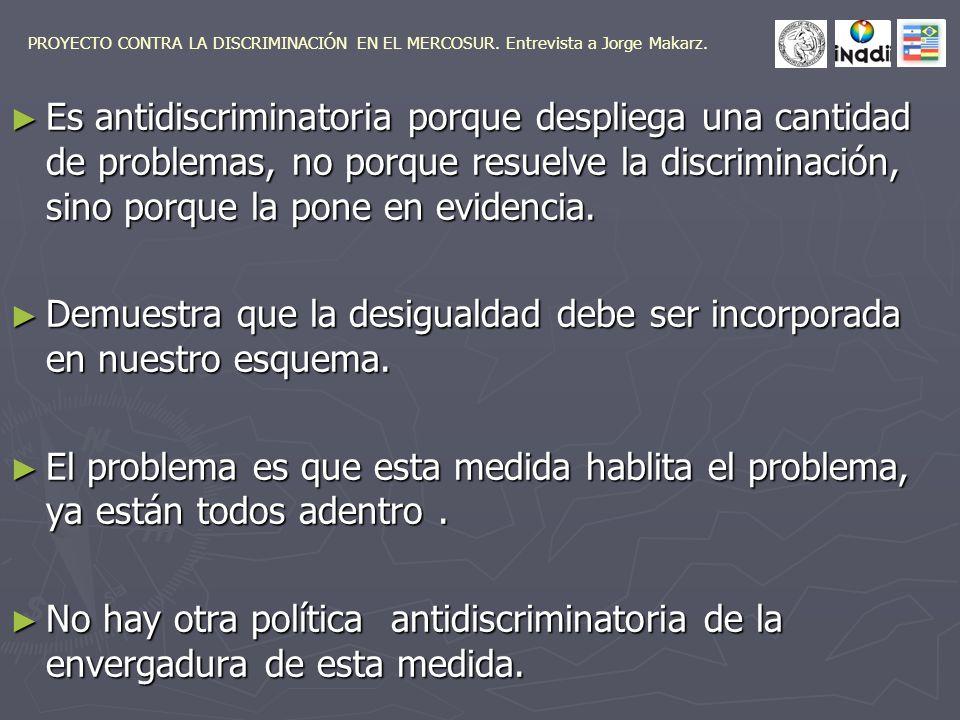 Es antidiscriminatoria porque despliega una cantidad de problemas, no porque resuelve la discriminación, sino porque la pone en evidencia.