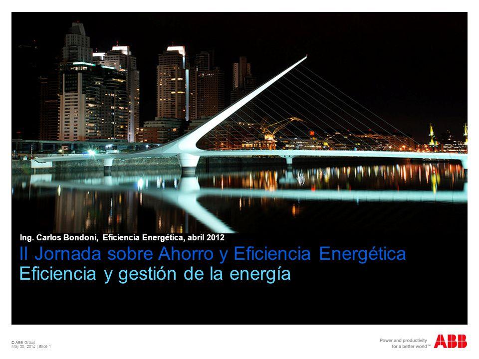 © ABB Group May 30, 2014 | Slide 1 Carlos Bondoni, División DM, 2011 II Jornada sobre Ahorro y Eficiencia Energética Eficiencia y gestión de la energí