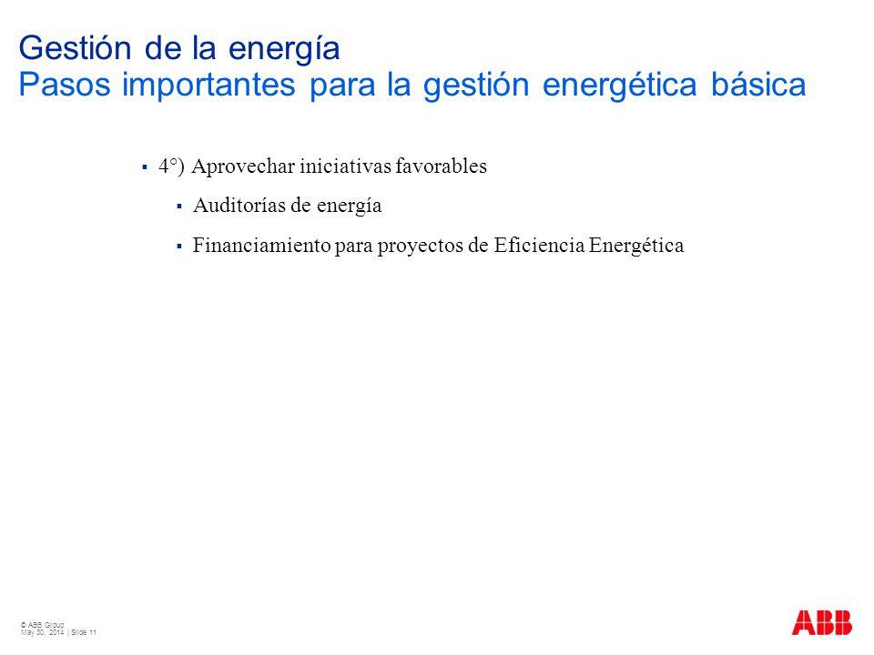 © ABB Group May 30, 2014 | Slide 11 Gestión de la energía Pasos importantes para la gestión energética básica 4°) Aprovechar iniciativas favorables Au