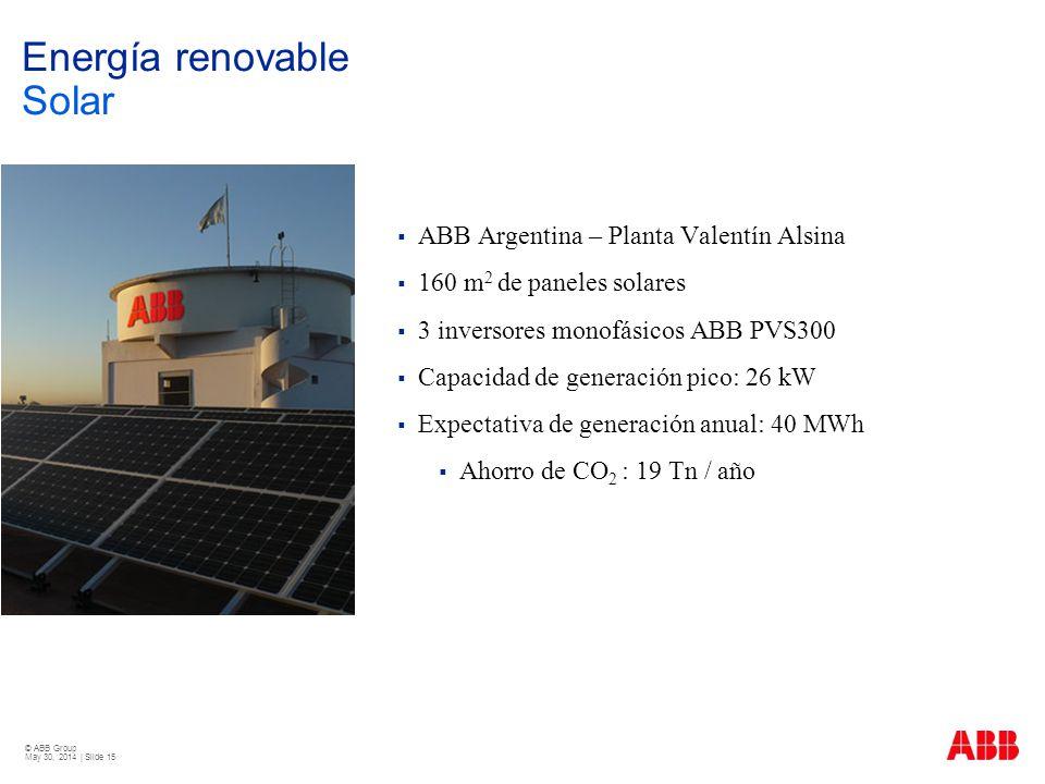 © ABB Group May 30, 2014 | Slide 15 Energía renovable Solar ABB Argentina – Planta Valentín Alsina 160 m 2 de paneles solares 3 inversores monofásicos
