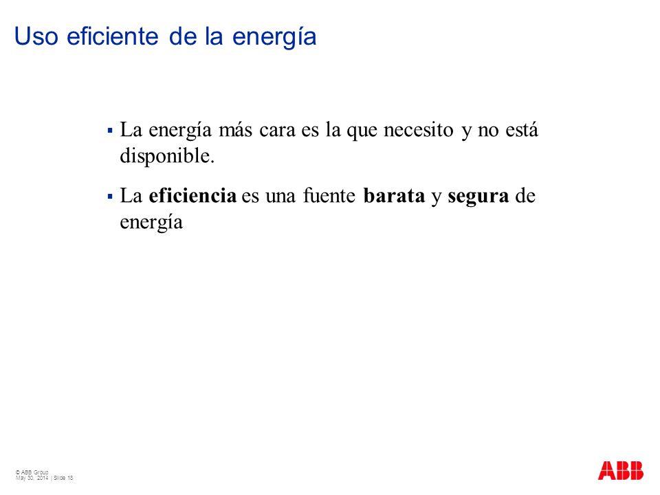 © ABB Group May 30, 2014 | Slide 18 Uso eficiente de la energía La energía más cara es la que necesito y no está disponible. La eficiencia es una fuen