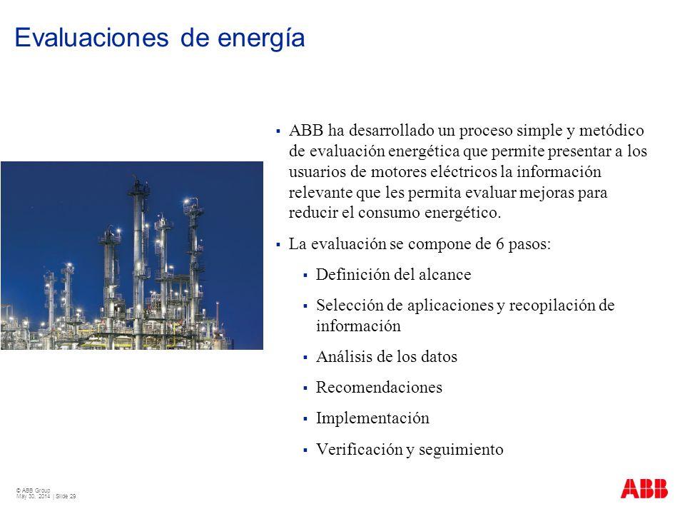 © ABB Group May 30, 2014 | Slide 29 Evaluaciones de energía ABB ha desarrollado un proceso simple y metódico de evaluación energética que permite pres