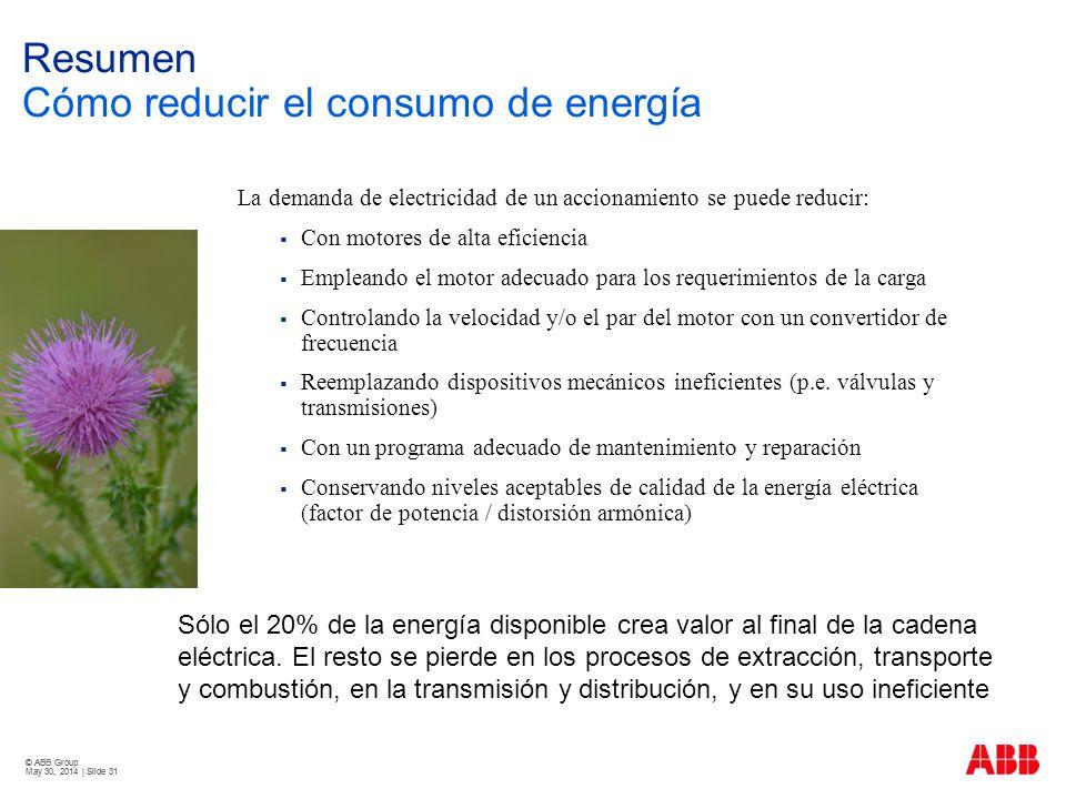 © ABB Group May 30, 2014 | Slide 31 © ABB Group May 30, 2014 | Slide 31 Resumen Cómo reducir el consumo de energía La demanda de electricidad de un ac