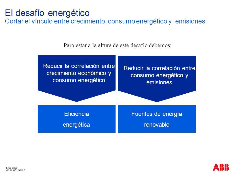 © ABB Group May 30, 2014 | Slide 4 © ABB Group May 30, 2014 | Slide 4 El desafío energético Cortar el vínculo entre crecimiento, consumo energético y