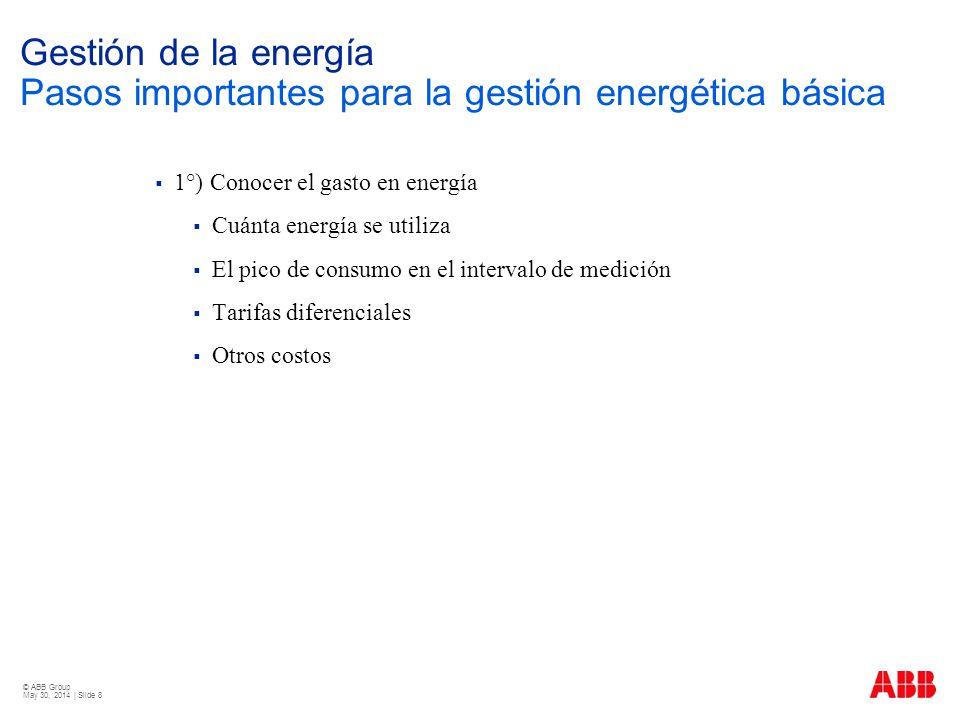 © ABB Group May 30, 2014 | Slide 8 Gestión de la energía Pasos importantes para la gestión energética básica 1°) Conocer el gasto en energía Cuánta en