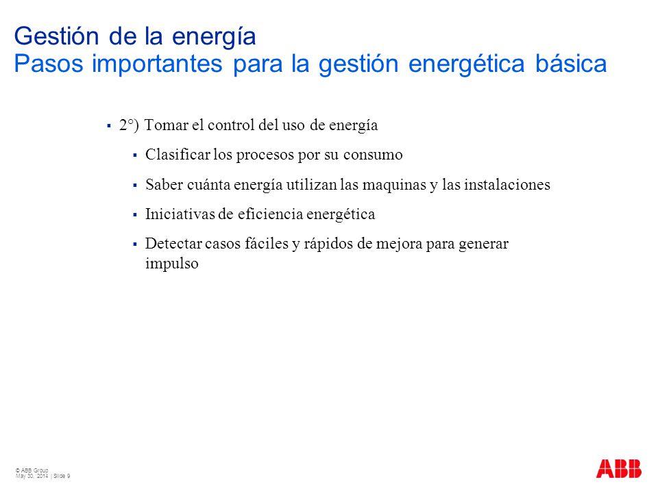 © ABB Group May 30, 2014 | Slide 9 Gestión de la energía Pasos importantes para la gestión energética básica 2°) Tomar el control del uso de energía C