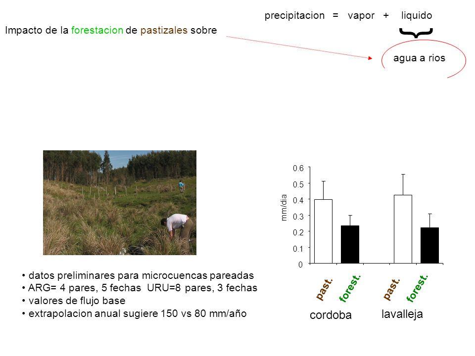 agua a rios { precipitacion = vapor + liquido Impacto de la forestacion de pastizales sobre 26 pares en todo el mundo cursos de pastizales con % <10 se secan tras forestar… eucaliptus > pinos 0 0.1 0.2 0.3 0.4 0.5 0.6 mm/dia forest.
