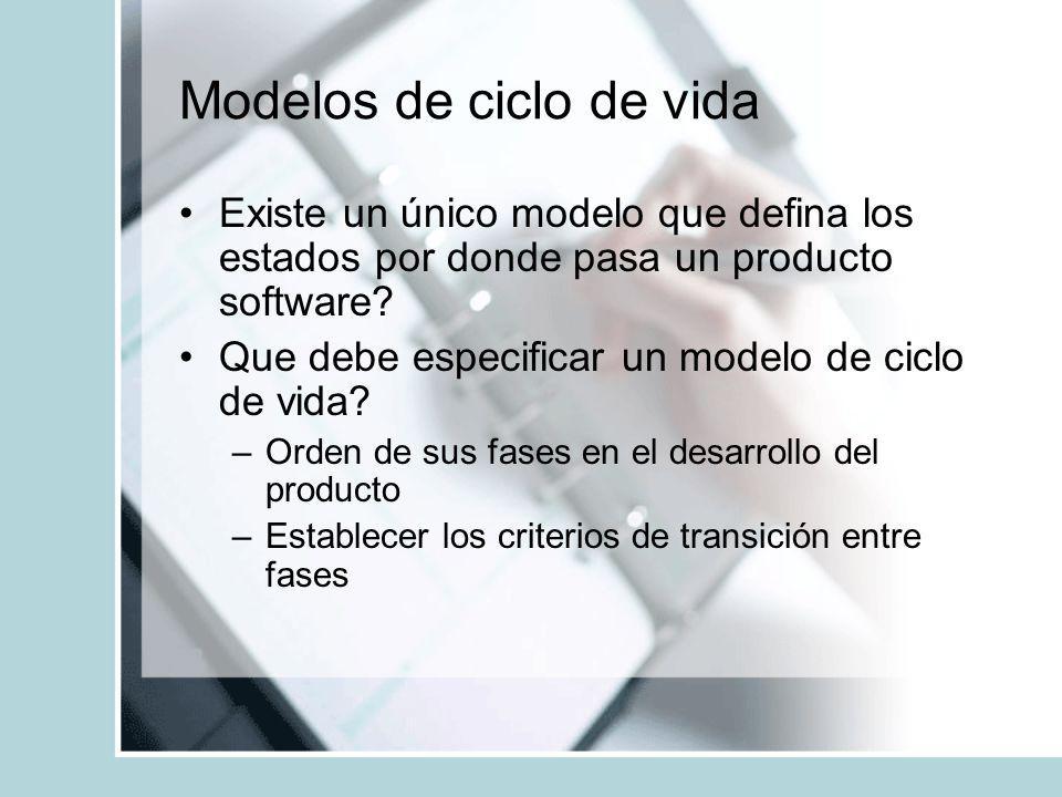 Modelos de ciclo de vida Existe un único modelo que defina los estados por donde pasa un producto software? Que debe especificar un modelo de ciclo de