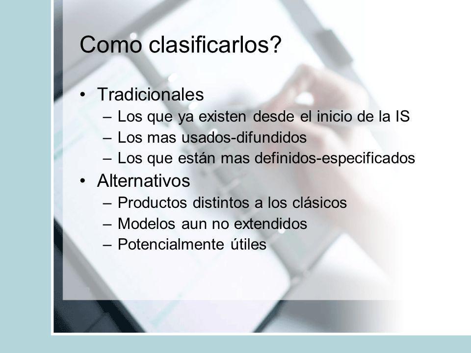 Como clasificarlos? Tradicionales –Los que ya existen desde el inicio de la IS –Los mas usados-difundidos –Los que están mas definidos-especificados A