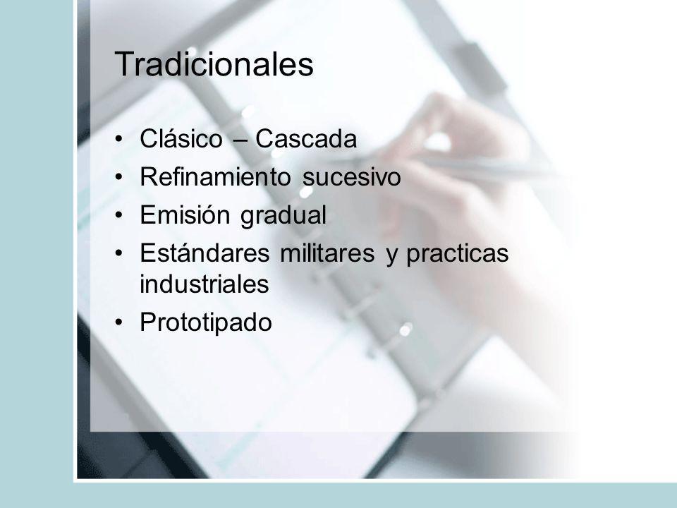 Tradicionales Clásico – Cascada Refinamiento sucesivo Emisión gradual Estándares militares y practicas industriales Prototipado