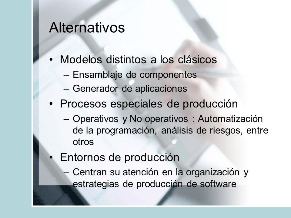 Alternativos Modelos distintos a los clásicos –Ensamblaje de componentes –Generador de aplicaciones Procesos especiales de producción –Operativos y No
