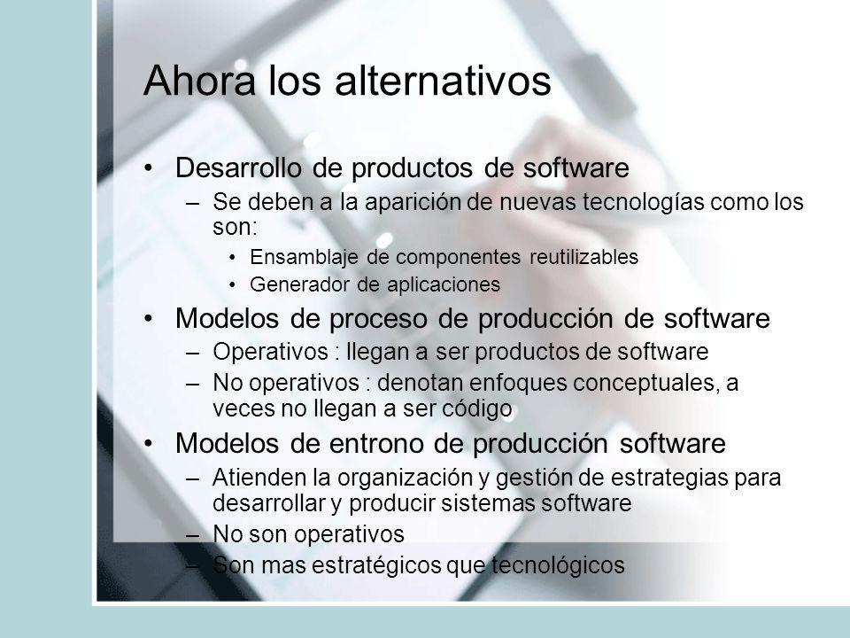 Ahora los alternativos Desarrollo de productos de software –Se deben a la aparición de nuevas tecnologías como los son: Ensamblaje de componentes reut