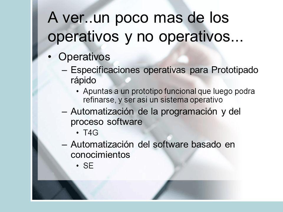 A ver..un poco mas de los operativos y no operativos... Operativos –Especificaciones operativas para Prototipado rápido Apuntas a un prototipo funcion