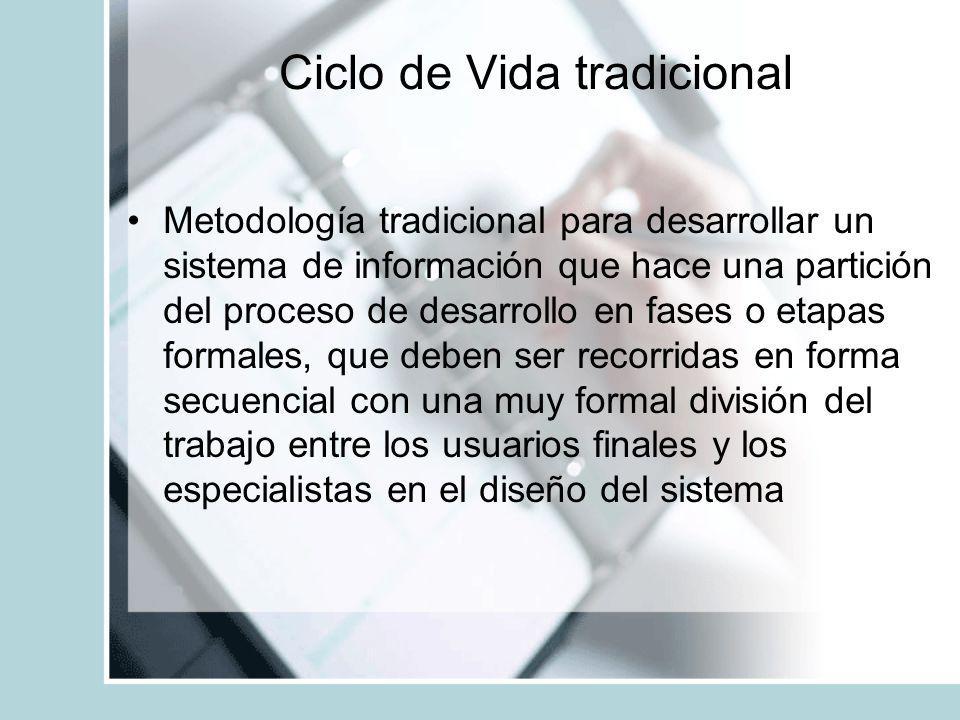 Ciclo de Vida tradicional Metodología tradicional para desarrollar un sistema de información que hace una partición del proceso de desarrollo en fases
