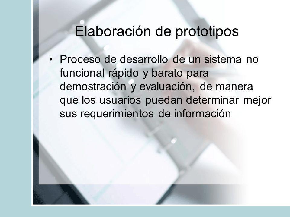Elaboración de prototipos Proceso de desarrollo de un sistema no funcional rápido y barato para demostración y evaluación, de manera que los usuarios