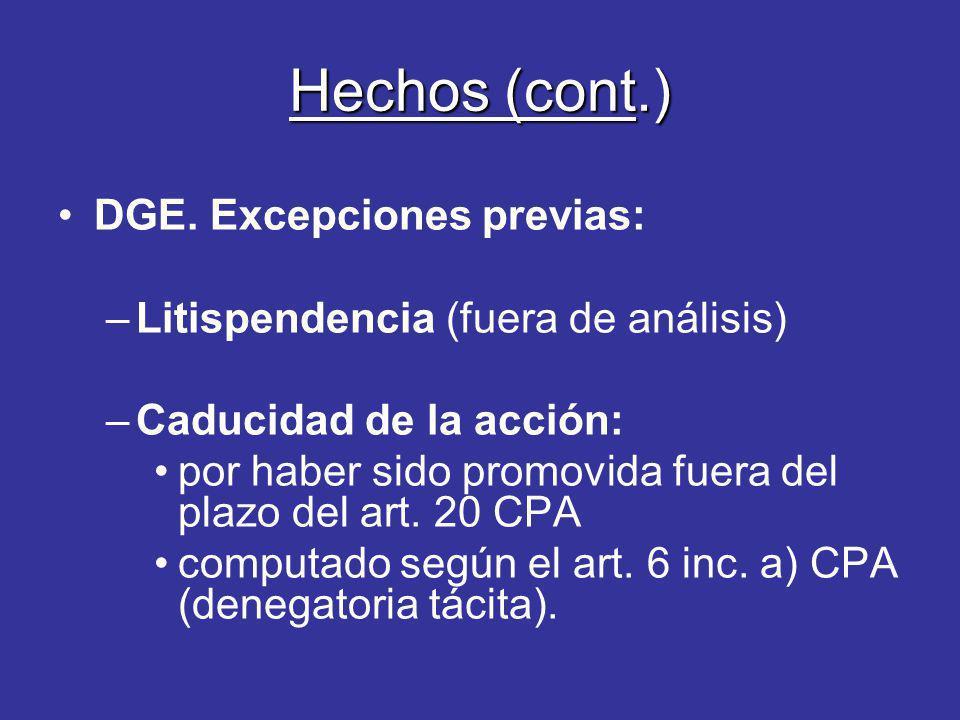 Hechos (cont.) DGE. Excepciones previas: –Litispendencia (fuera de análisis) –Caducidad de la acción: por haber sido promovida fuera del plazo del art
