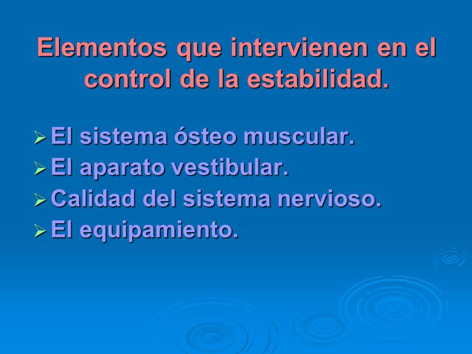 Elementos que intervienen en el control de la estabilidad. El sistema ósteo muscular. El sistema ósteo muscular. El aparato vestibular. El aparato ves
