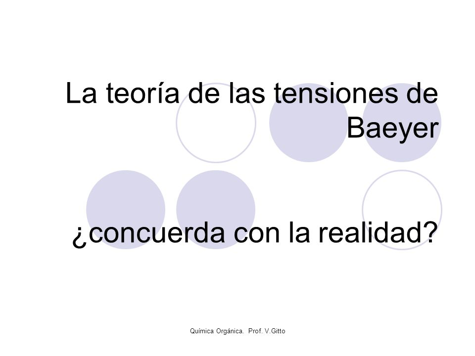 Química Orgánica. Prof. V.Gitto La teoría de las tensiones de Baeyer ¿concuerda con la realidad?