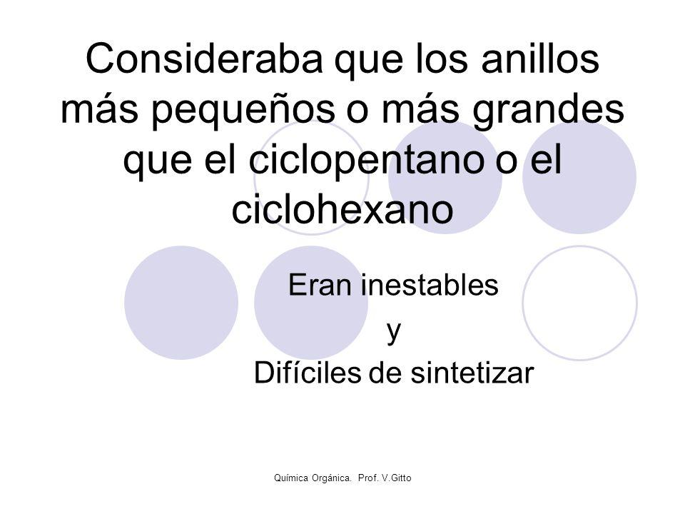 Química Orgánica. Prof. V.Gitto Consideraba que los anillos más pequeños o más grandes que el ciclopentano o el ciclohexano Eran inestables y Difícile