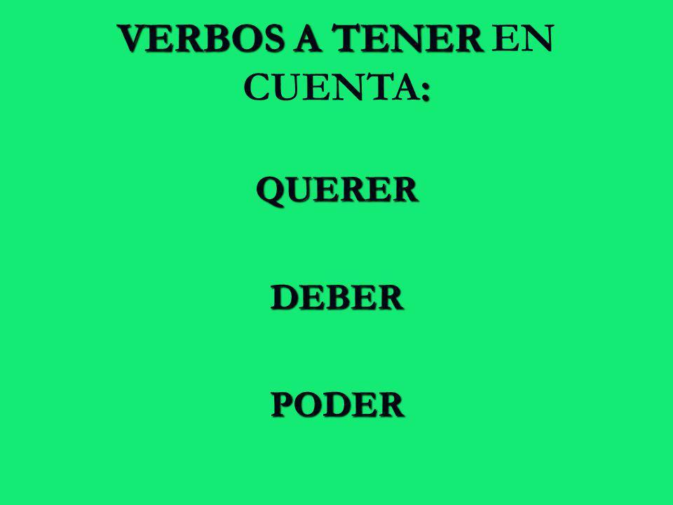 QUERERDEBERPODER VERBOS A TENER : VERBOS A TENER EN CUENTA: