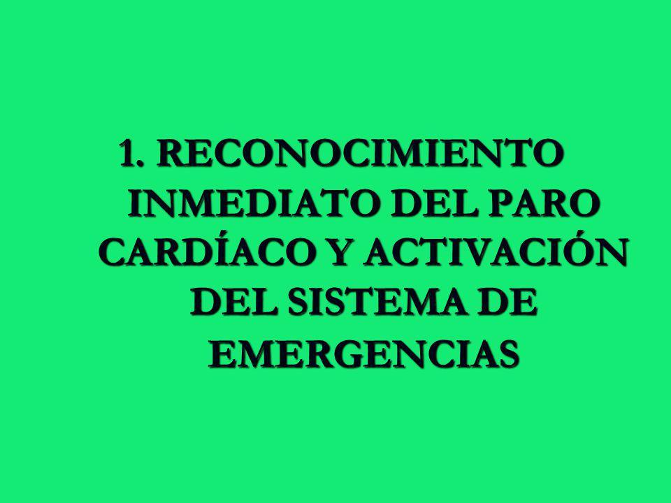 1. RECONOCIMIENTO INMEDIATO DEL PARO CARDÍACO Y ACTIVACIÓN DEL SISTEMA DE EMERGENCIAS 1. RECONOCIMIENTO INMEDIATO DEL PARO CARDÍACO Y ACTIVACIÓN DEL S