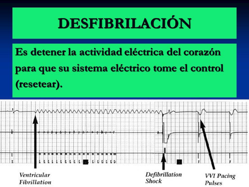 DESFIBRILACIÓN Es detener la actividad eléctrica del corazón para que su sistema eléctrico tome el control (resetear).