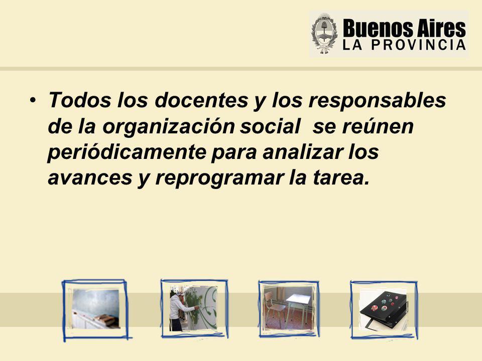 Todos los docentes y los responsables de la organización social se reúnen periódicamente para analizar los avances y reprogramar la tarea.