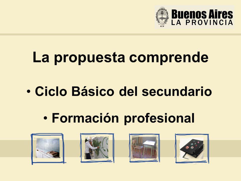 La propuesta comprende Ciclo Básico del secundario Formación profesional