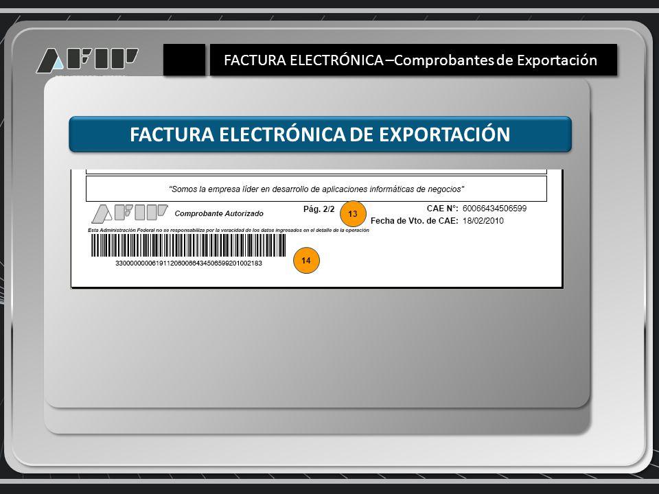 FACTURA ELECTRÓNICA DE EXPORTACIÓN 14 13