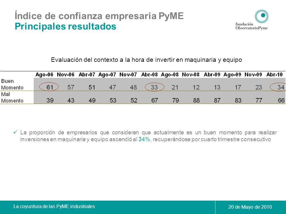 La coyuntura de las PyME industriales 20 de Mayo de 2010 Evaluación del contexto a la hora de invertir en maquinaria y equipo La proporción de empresa