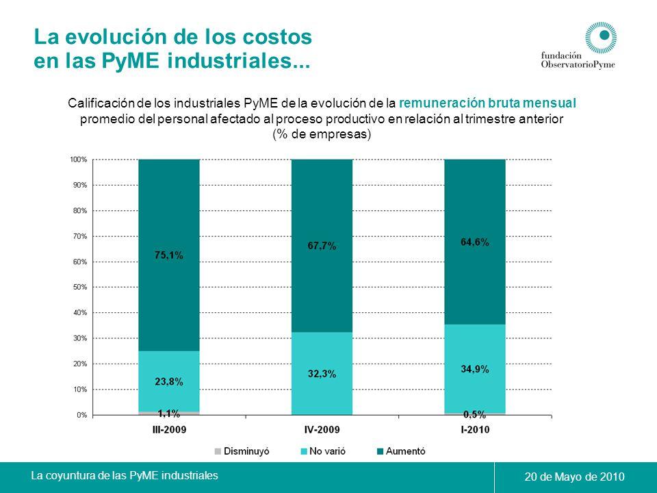 La coyuntura de las PyME industriales 20 de Mayo de 2010 La evolución de los costos en las PyME industriales... Calificación de los industriales PyME