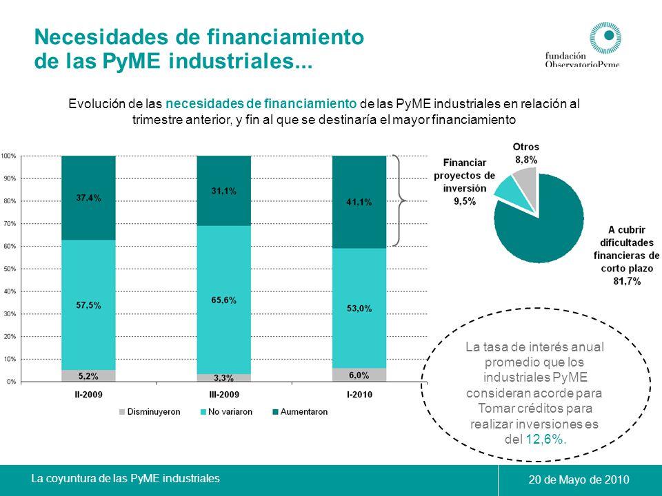 La coyuntura de las PyME industriales 20 de Mayo de 2010 Necesidades de financiamiento de las PyME industriales... Evolución de las necesidades de fin