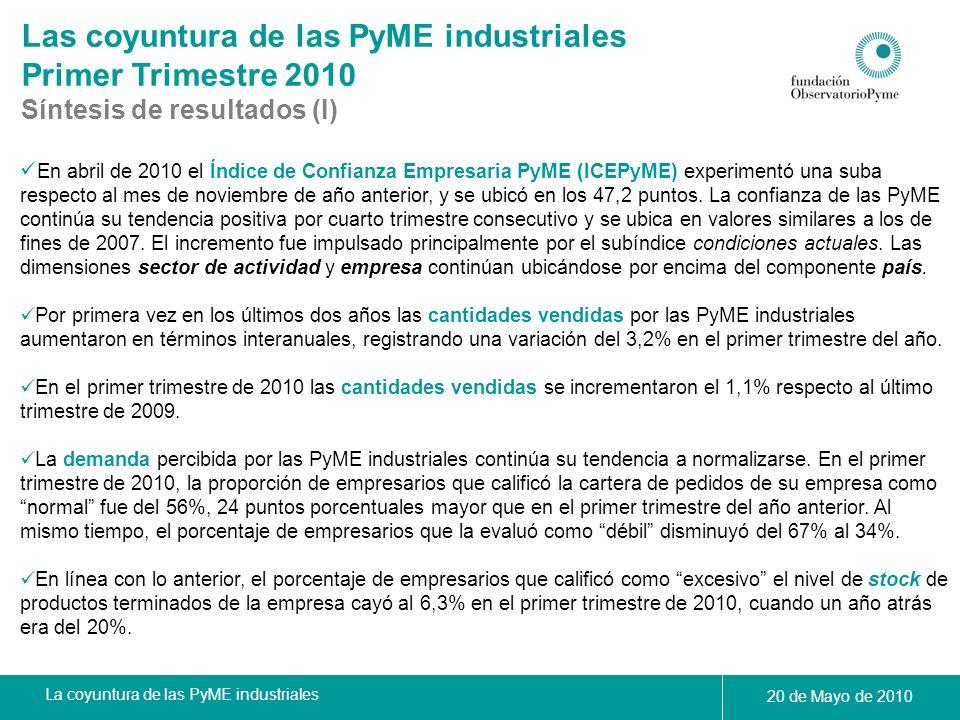 La coyuntura de las PyME industriales 20 de Mayo de 2010 Las coyuntura de las PyME industriales Primer Trimestre 2010 Síntesis de resultados (II) Se observa un freno en la caída del nivel de ocupación de las PyME industriales.