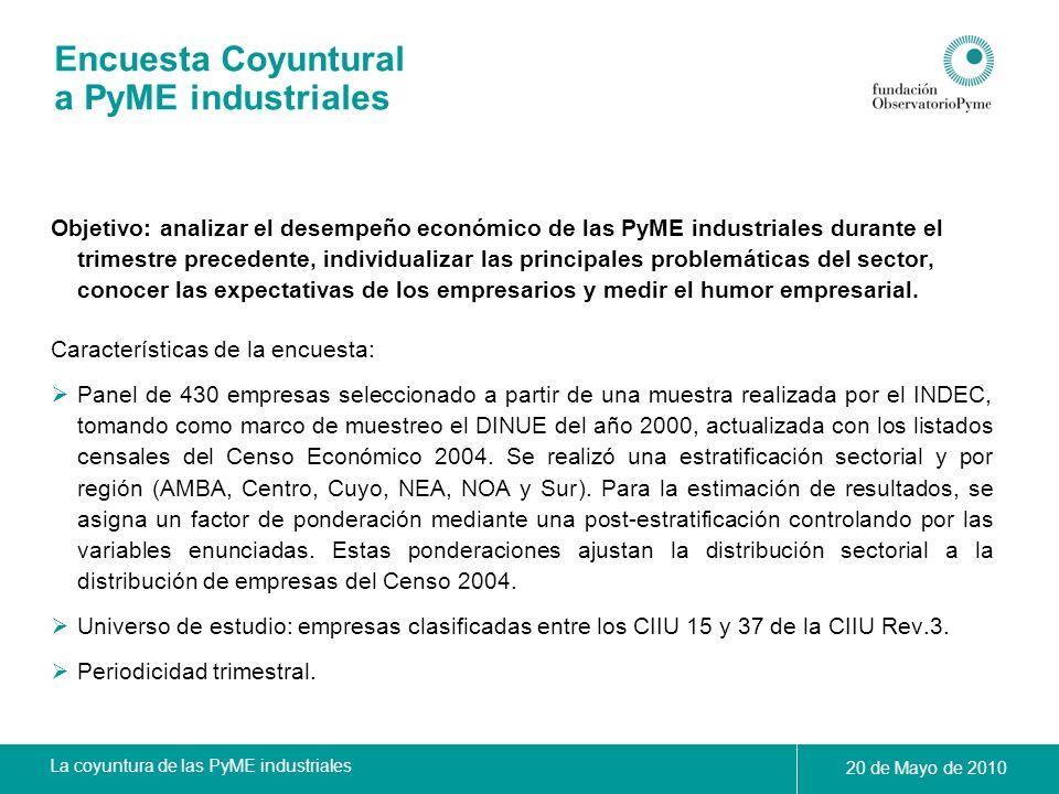 La coyuntura de las PyME industriales 20 de Mayo de 2010 Encuesta Coyuntural a PyME industriales Objetivo: analizar el desempeño económico de las PyME
