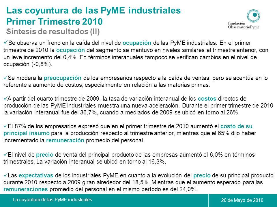 La coyuntura de las PyME industriales 20 de Mayo de 2010 Calificación del stock del principal producto fabricado de las PyME Industriales durante el 1° Trimestre de 2010 La actividad económica en el primer trimestre de 2010