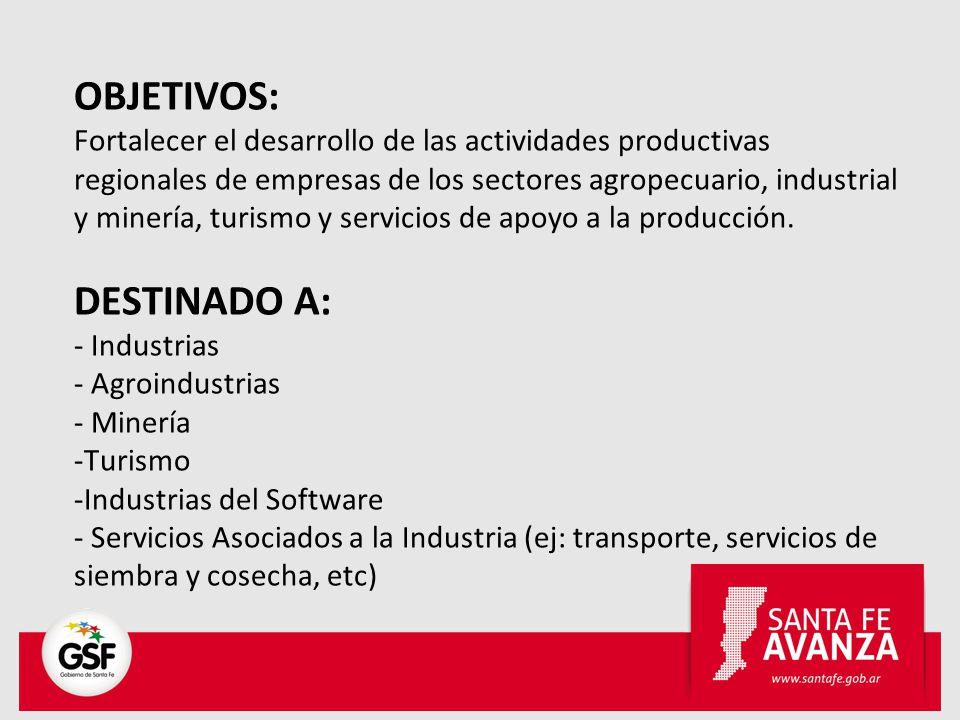 OBJETIVOS: Fortalecer el desarrollo de las actividades productivas regionales de empresas de los sectores agropecuario, industrial y minería, turismo