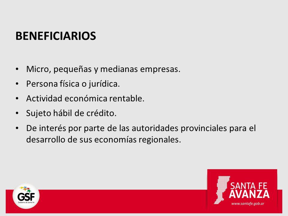 BENEFICIARIOS Micro, pequeñas y medianas empresas. Persona física o jurídica. Actividad económica rentable. Sujeto hábil de crédito. De interés por pa