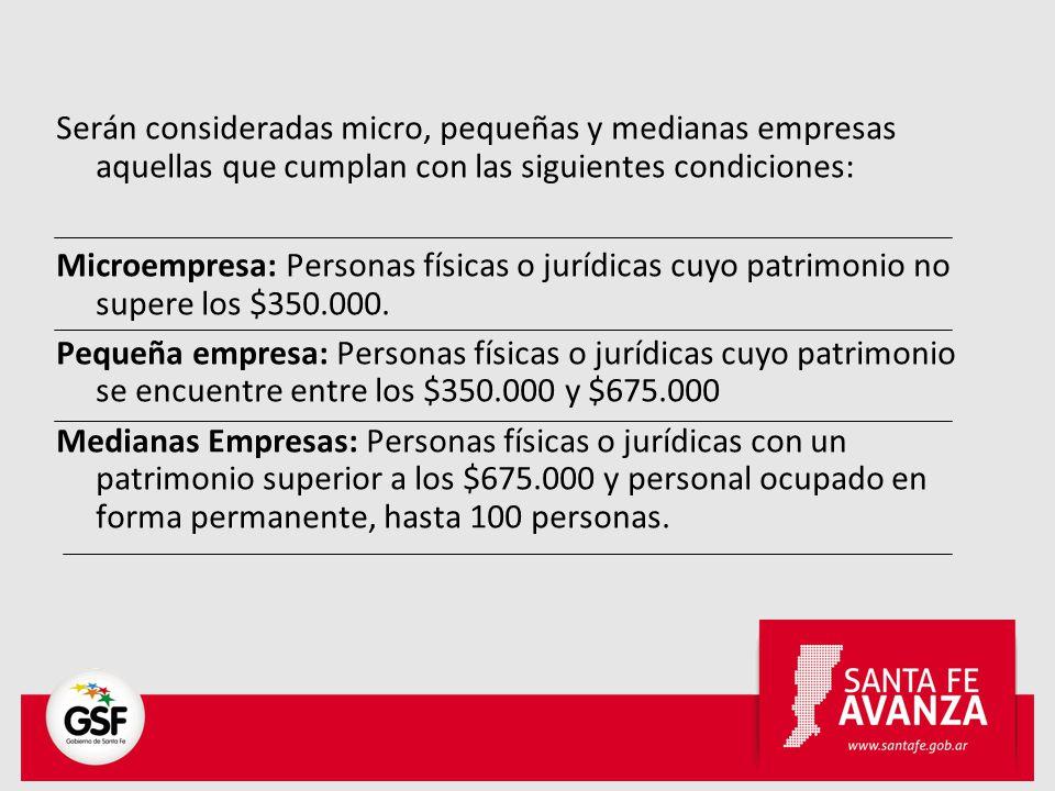 Adicionalmente se tendrán en cuenta el valor de las ventas anuales en pesos ($) -excluído el impuesto al Valor Agregado y el impuesto interno que pudiera corresponder- hasta los siguientes niveles máximos para ser considerado PYME: Sector/TamañoPymes Agropecuario54.000.000 Industria y Minería183.000.000 Turismo y Servicios de Apoyo a la Producción63.000.000
