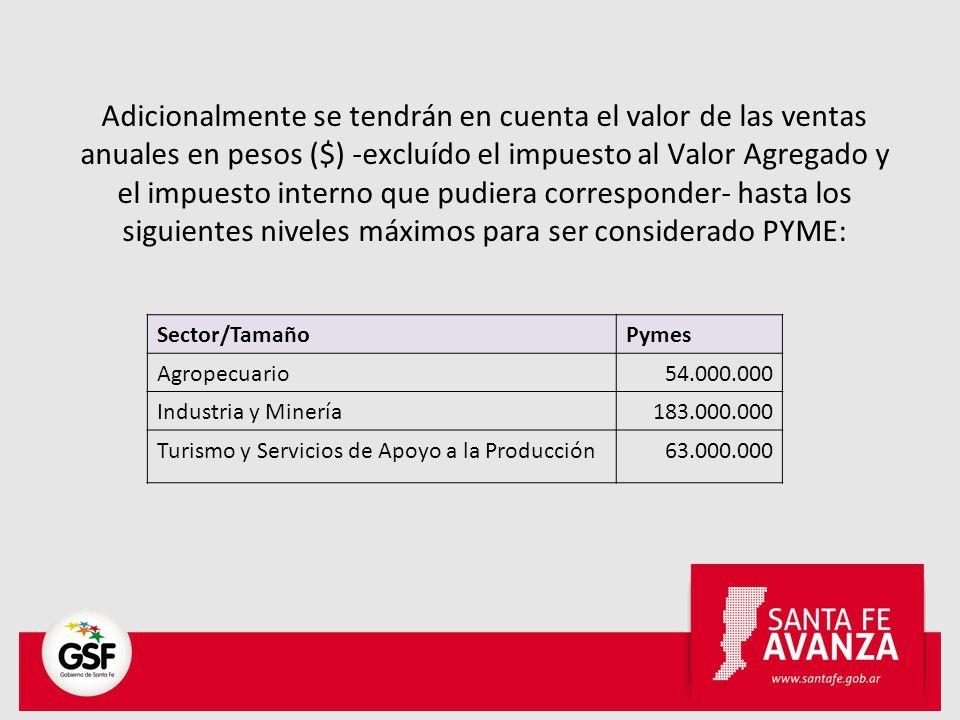 Adicionalmente se tendrán en cuenta el valor de las ventas anuales en pesos ($) -excluído el impuesto al Valor Agregado y el impuesto interno que pudi