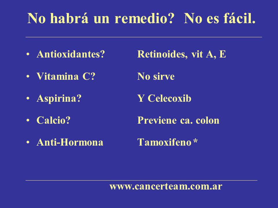 No habrá un remedio? No es fácil. Antioxidantes?Retinoides, vit A, E Vitamina C?No sirve Aspirina? Y Celecoxib Calcio?Previene ca. colon Anti-HormonaT